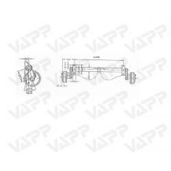 Náprava na přívěsný vozík KNOTT GB 8, 850 kg, 1100 mm, 200x50, 100x4