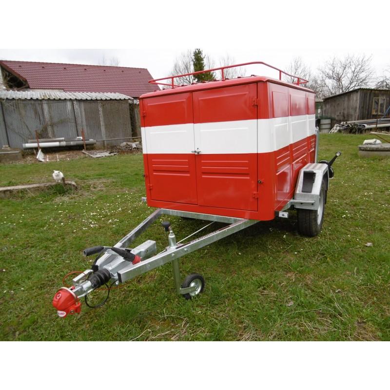 Brzděný přívěsný vozík pro hasiče, 1300 kg, - přestavba skříně PS12 na nový podvozek